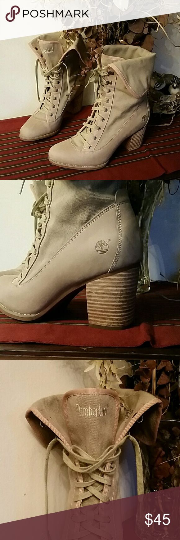 "😍Timberlands❤ ❤NWOT😍 Women's SIZE 9 ❤Khaki Army tan colored leather & canvas lace up heeled combat style boots with 3"" Heel by Timberland😍❤😍 Timberland Shoes Combat & Moto Boots"