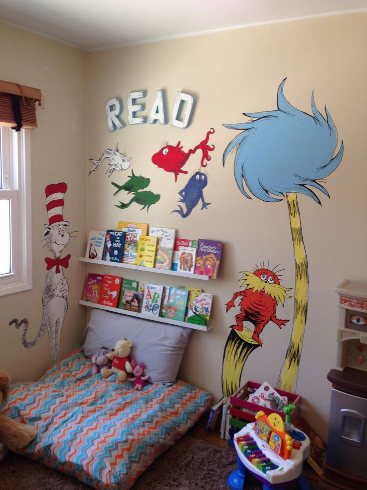 Dr seuss wall mural painting reading corner for kids cat for Dr seuss wall mural