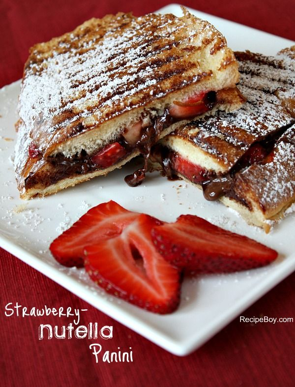 Strawberry-Nutella Panini.....I will have to try this after the currently imposed ban on Nutella in my house is lifted. (I made this rule up about two weeks ago....we'll see how long I can hold out. Ahhh, I just love it too much...& not just one spoonful at a time;)): Strawberry Nutella Panini, Breakfast Panini, Food, Nutella Recipes, Sweet Tooth, Paninis, Dessert