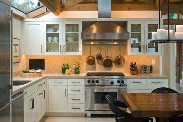 range hood with pot holder--   Stinson Beach - beach style - kitchen - san francisco - Kristi Will Home + Design