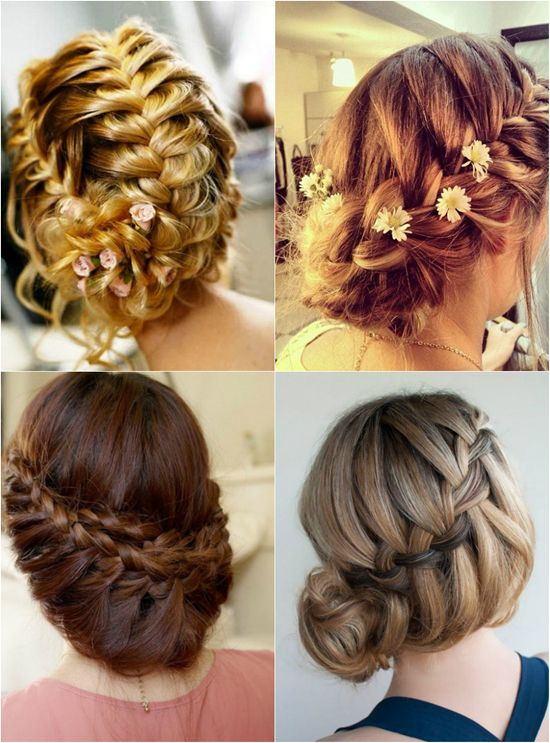 french braided updo with flowers and clip on straight human hair extension