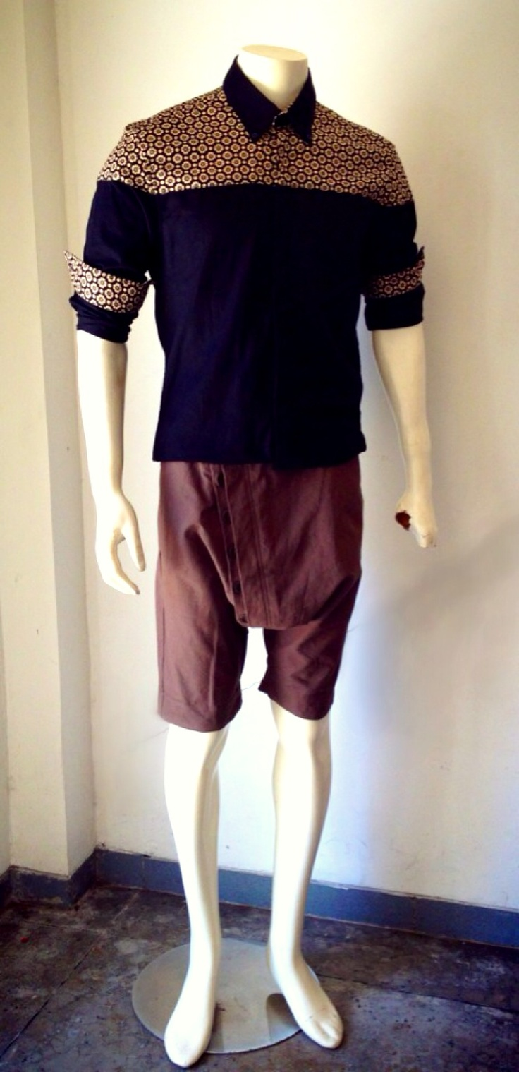 Paul shirts with batik accent plus buttons shorts