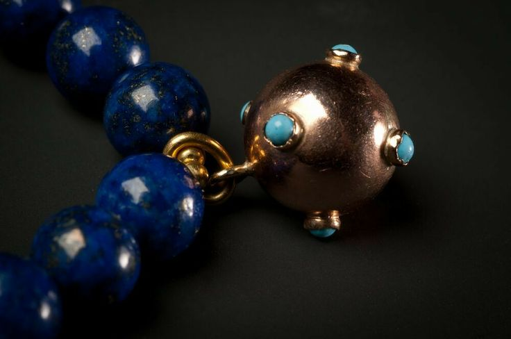 Lapis lazuli Pearl bracelet with antique magnate ball
