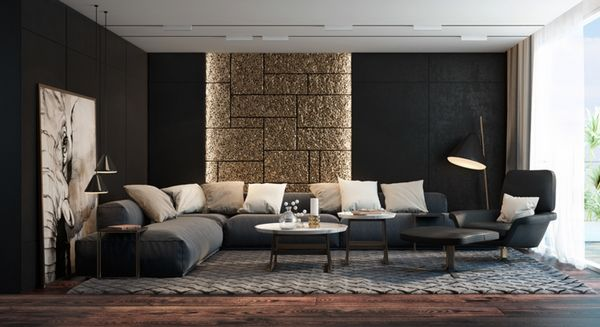 lliving room design ideas black wall color gray sofa stone wall, Innedesign
