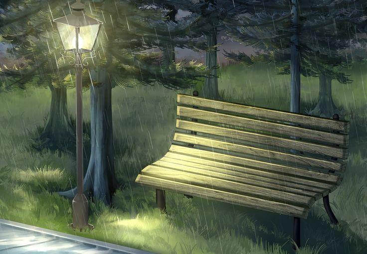 벤치, 칸델라, 공원, 비, 밤, 녹색, 야외 활동