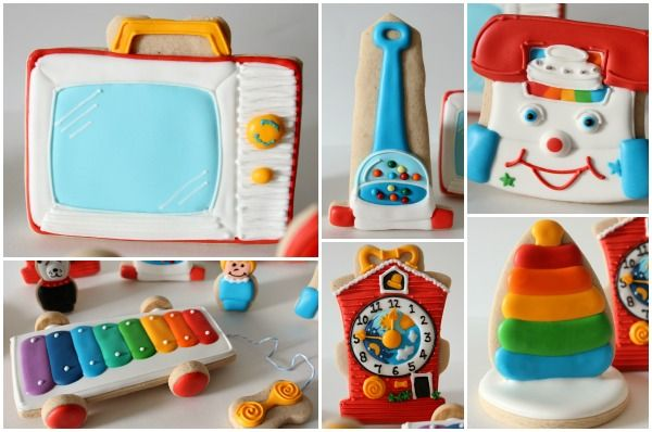 How-to: Cookies that look like vintage Fisher-Price toys. How amazing for a baby shower or birthday!