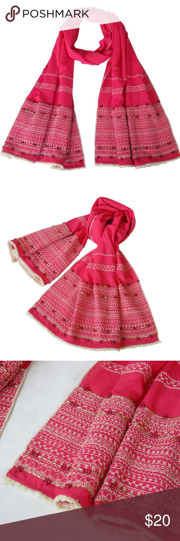 """JUST IN! Hand Embroidered Long Scarf; S/S OVERVIEW : HAND EMBROIDERED with beautiful details; these cotton scarves are a must have Long scarf with gold embellishment, contrasting beads and off white fringes. Ask us for more colors  PRODUCT DETAILS STYLE # EB-SCV-009A RED/ DEEP PINK MATERIAL: 100% Cotton DIMENSIONS: 79"""" x 18"""" (inches) WASH CARE: Hand wash cold; dry flat  Comes in a lovely cotton reusable bag 7 Artisan Street ® Accessories Scarves & Wraps"""