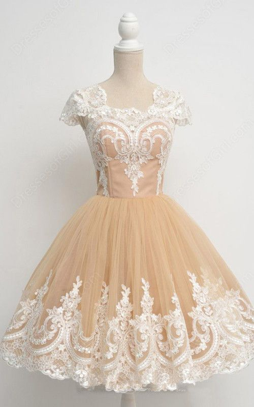 Gold Nude Ball Gown Sleeveless Tea Length Square Neckline Tulle Appliques Lace Short Homecoming Dress
