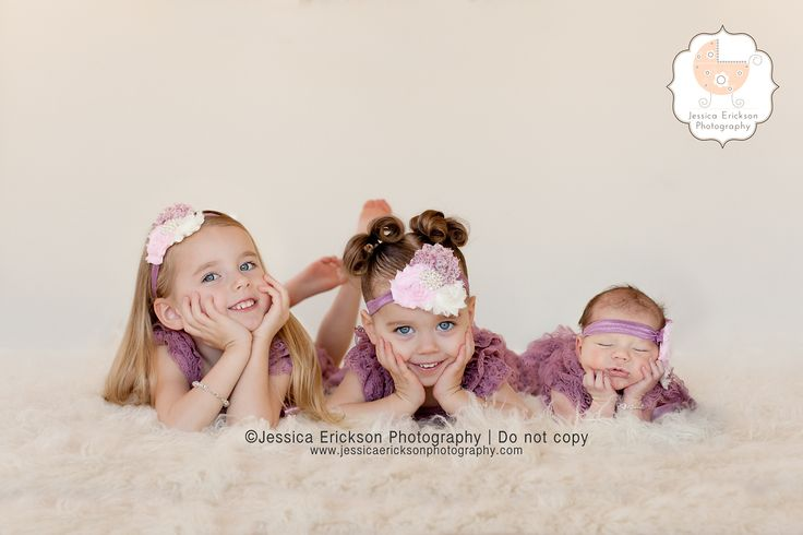 Jessica Erickson Child Photography and Newborn photography.  three little girls sister picture.