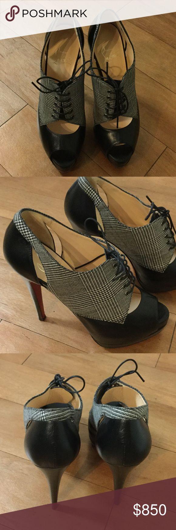 "Christian Louboutin Black Houndstooth Booties Uber fierce, NWOB. NWOT. 5"" heels. No dustbag, no box. Christian Louboutin Shoes Ankle Boots & Booties"