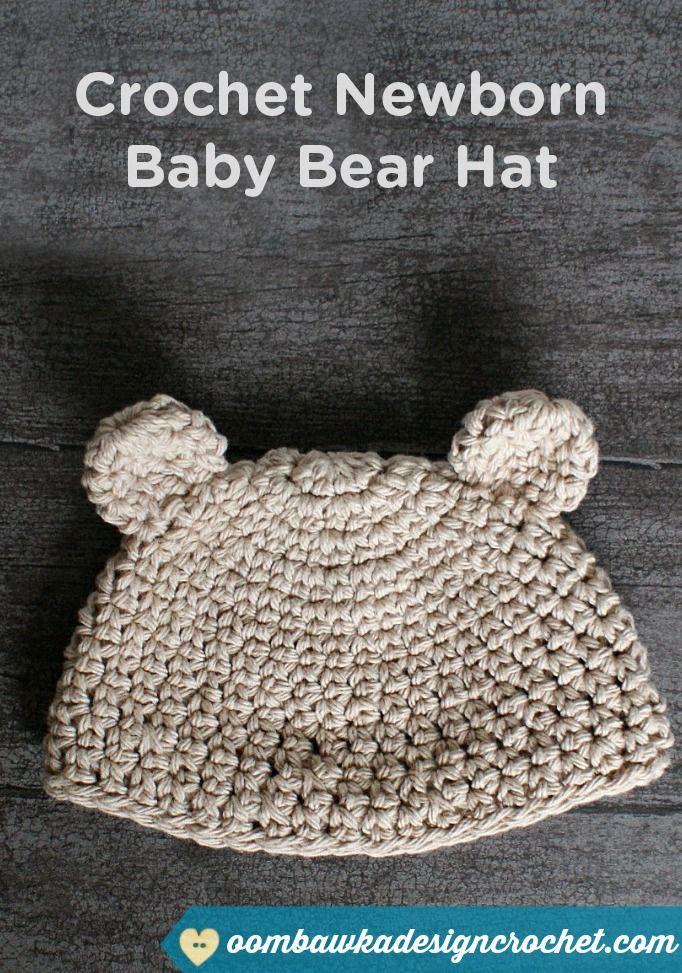 Keep your newborn baby warm with this sweet crochet newborn baby bear hat.