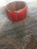 Banana Republic Enamel And Brass Bracelet - Red - NWT