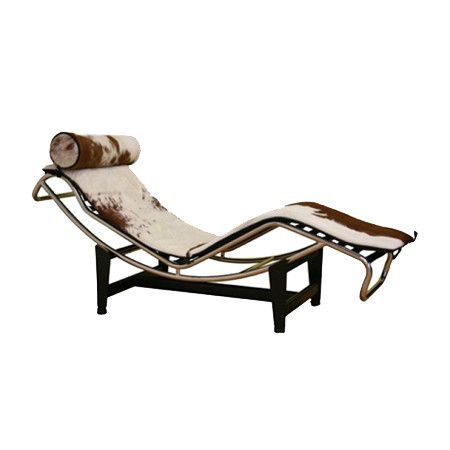 Steel-frame chaise with cowhide leather upholstery. Product: ChaiseConstruction Material: Leather, steel and pony ...