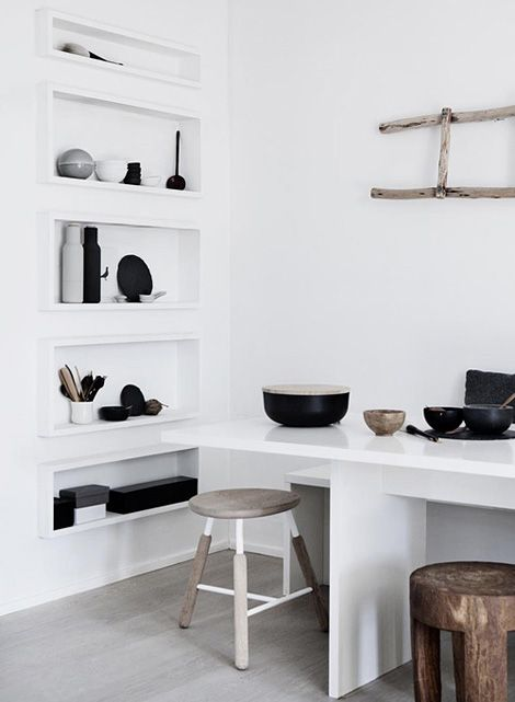 Narrow box shelves.