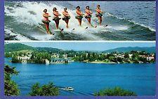 C26242 Waterskiers View LAC DES SABLES St Agathe Quebec Canada Chrome Postcard