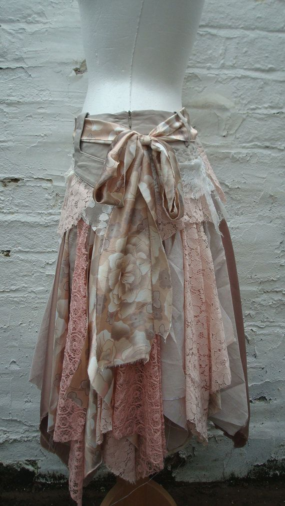 Upcycled Skirt Woman's Clothing Champagne Peach by BabaYagaFashion