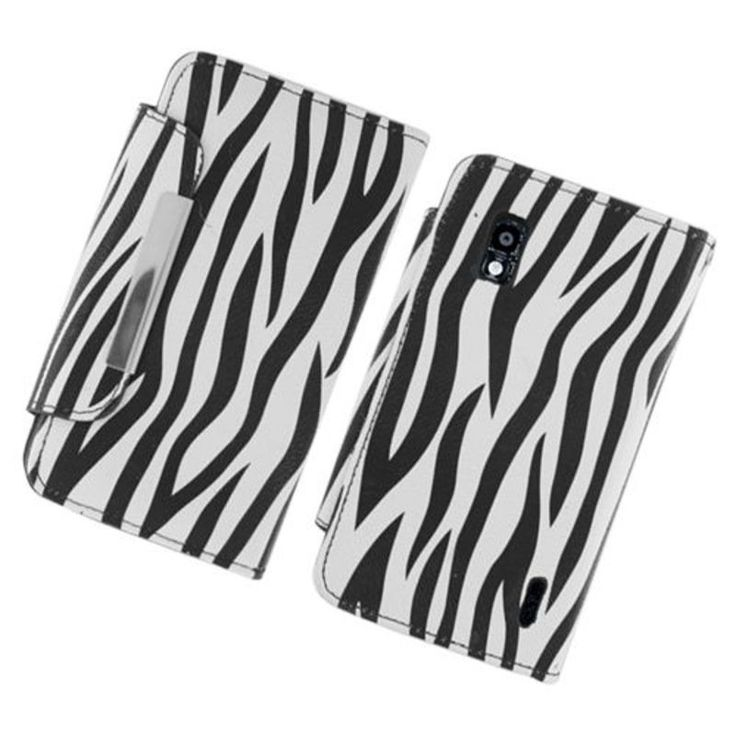 Insten /White Zebra Leather Case Cover with Wallet Flap Pouch For LG Google Nexus 4 E960