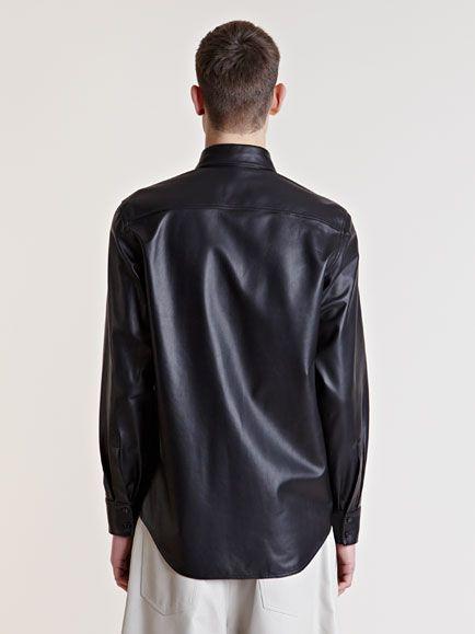 Yang Li Mens Leather Shirt in Black for Men | Lyst