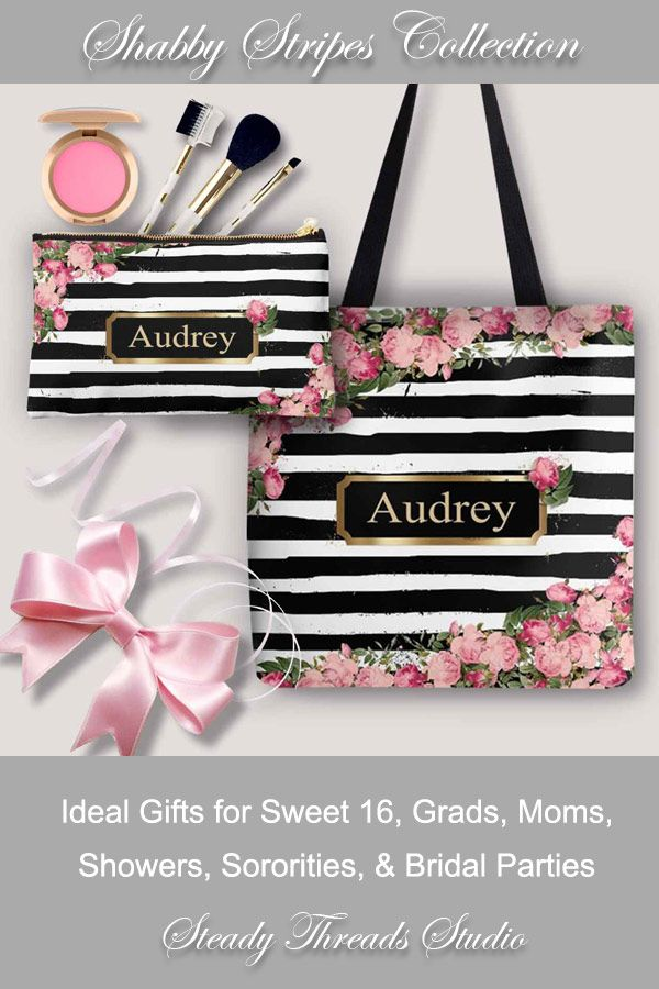 29d7355d9fb3 Browse our Shabby Stripes Personalized Cosmetic Bags & Totes. Ideal ...