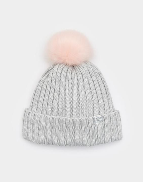 Pop-a-pom Light Grey Bobble Hat , Size One Size | Joules UK