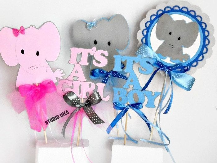 Cute Elephant Centerpiece, Scallop Elephant centerpiece- It's A Boy-Girl Table Decoration,Pink-Grey or Light Blue-Grey or CHOOSE YOUR COLORS by StudioIdea on Etsy
