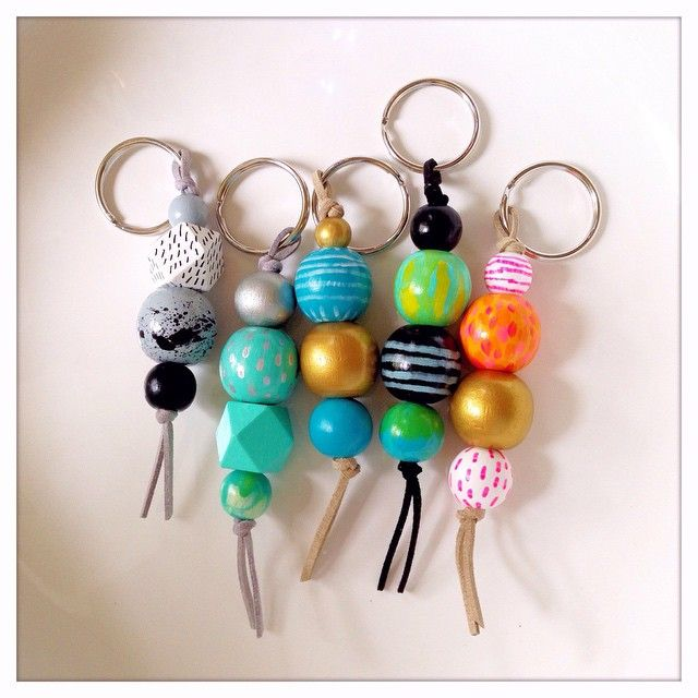 New key chains in the store :) I love playing with color! #woodbeads #keychain #colorlover #woodenbeads #handpainted