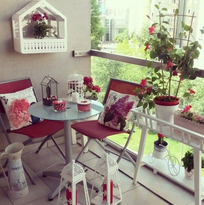 Balkon, Beyaz, Çiçekler, Kırmızı