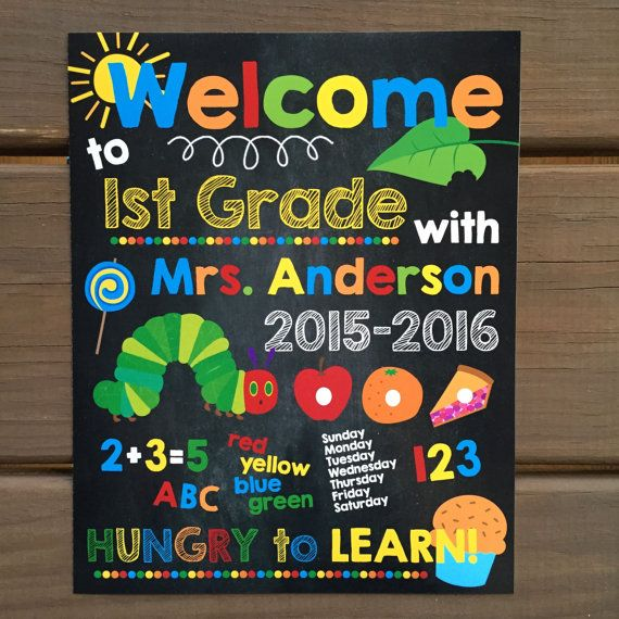 CLASSROOM WELCOME SIGN  Very Hungry Caterpillar Classroom Art by ChalkolateCake