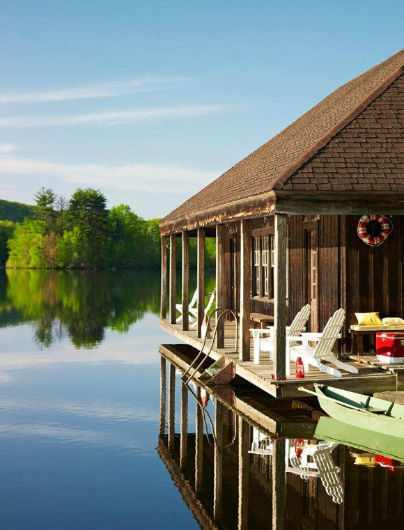 living (outdoors!) on the edge: Dreams Cabins, Lakes House, Cottage, Boats, Lakes Home, Dreams House, Places, Porches, Heavens