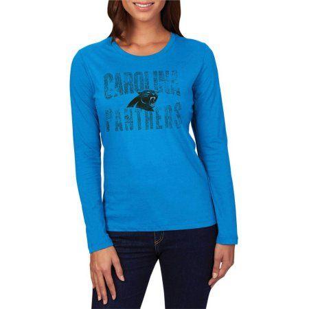 Plus Size NFL Carolina Panthers Women's Plus Long Sleeve Crew Neck Tee, Size: 2XL, Blue