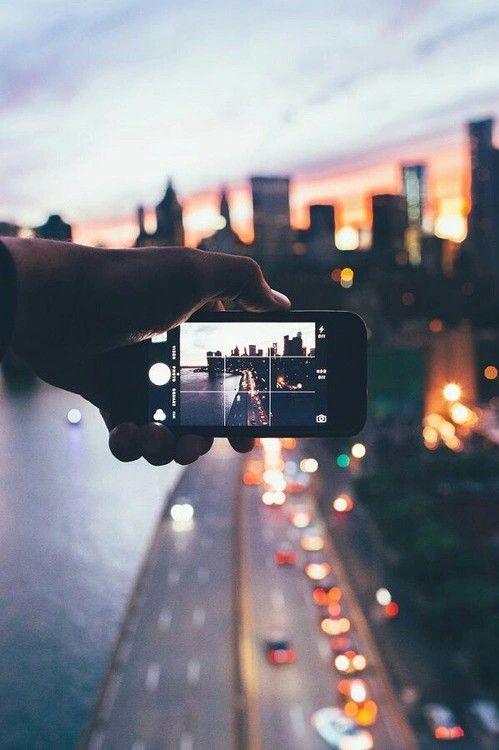 car, city, city lights, iphone, night, photography, sky, street