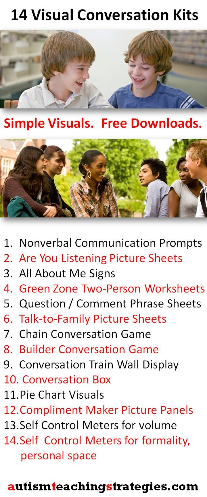 For children with high functioning autism, 14 appealing conversation activities, games and worksheets. Free download, newly indexed for easy access. Tags: autism, Asperger's, conversation pragmatics, social skills