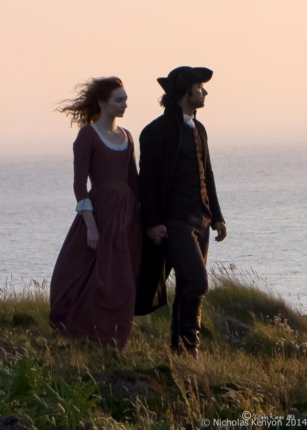 Via Nick Kenyon @Njkfoto Aidan Turner and Eleanor Tomlinson - Aidan Turner on oceanside cliff at sunset with his lady love in Poldark, I'm assuming? Pretty. (I already want a trailer!)