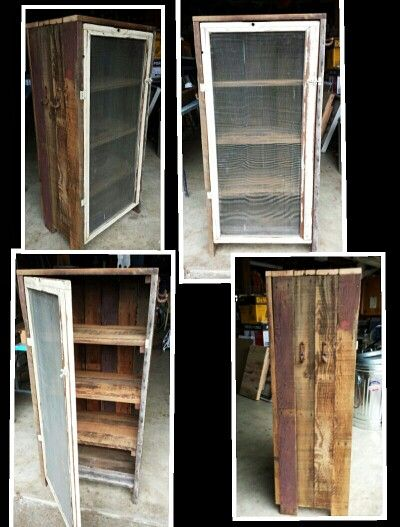 Pie safe made from 100 year old barn wood with old wooden for Barn door screen door