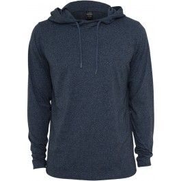BLACK AND BLUE MELANGE JERSEY HOODY - Hoodies & Crews - Menswear. Cool hoodie that goes perfect with a pair of slim fit jeans.