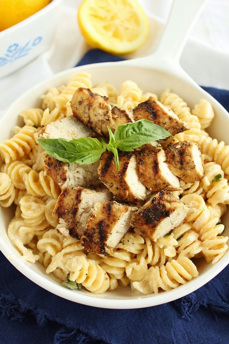 Grilled Chicken with Lemon Basil Pasta | Pasta | Pinterest | Grilled ...
