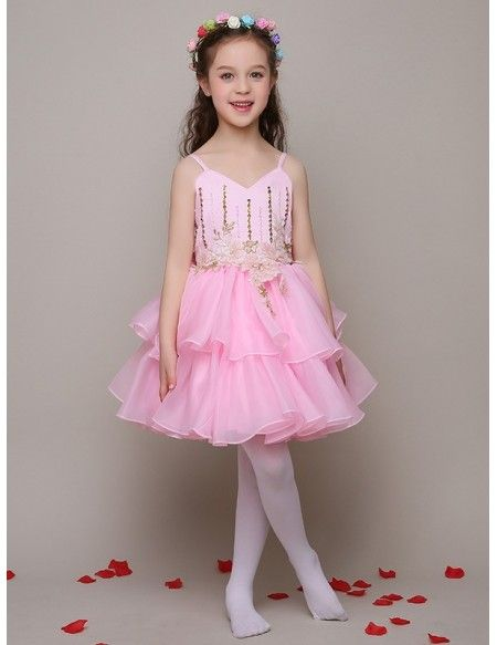 Lovely Pink Beaded Applique Pageant Dress with Spaghetti ...