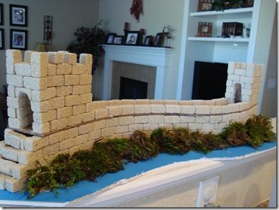 China: make the great wall of China!!! Craft by Confessions of a Homeschooler, using FloraCraft Styrofoam Bricks, white craft glue, foam poster board, fake greenery, cardboard and toothpicks.
