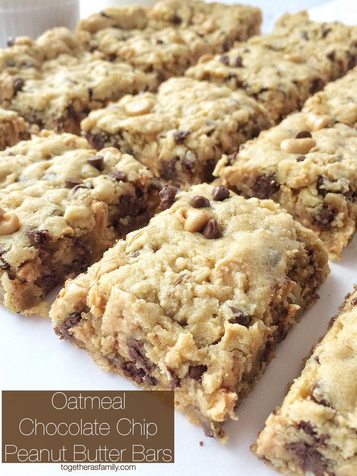 OATMEAL CHOCOLATE CHIP PEANUT BUTTER BARS   www.togetherasfamily.com
