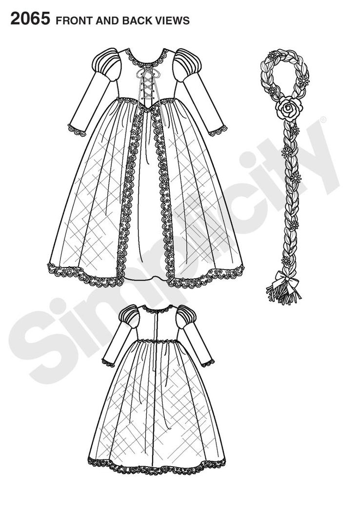 Front/Back View -- Simplicity 2065 Disney Princess Tangled ...