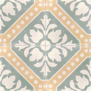 Lot de 4 carreaux de ciment Bouquet céladon vert, l.40 x L.40 cm | Leroy Merlin