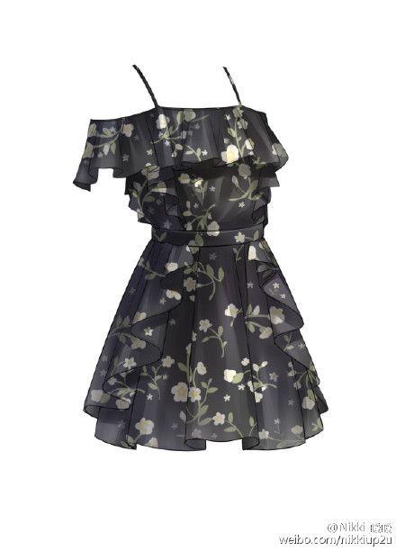 Robe d'été à brettelles noire et à motifs floraux http://amzn.to/2tut3j6