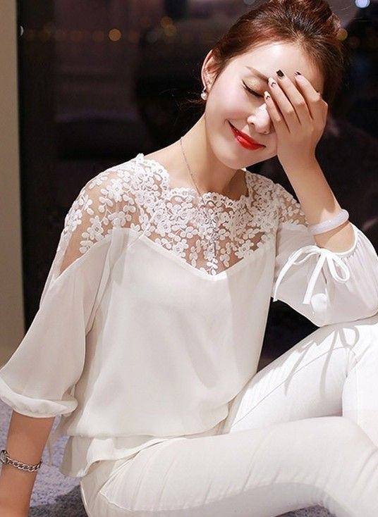 New summers loose stitching lace long sleeve blouse | GonChas