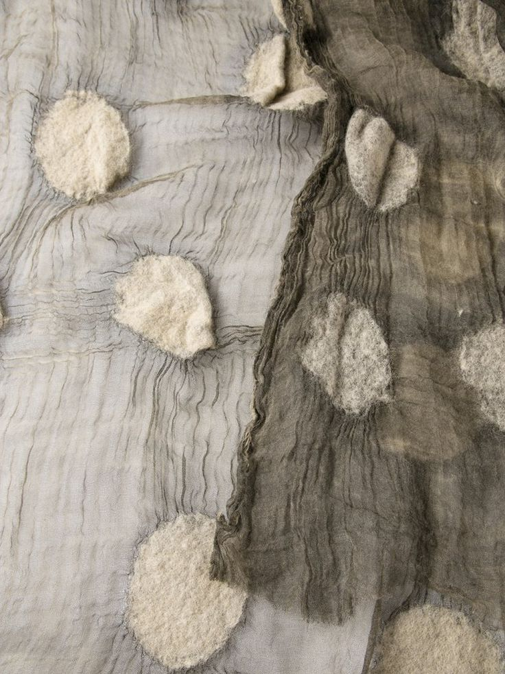 UMA WANG smoke coloured wool-cotton Polka-Dot Scarf ◊◊ H. LORENZO