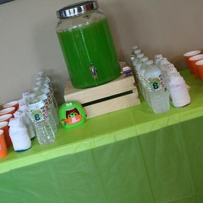 Monster Beverage: lime colored juice, Sprite and some sherbert.