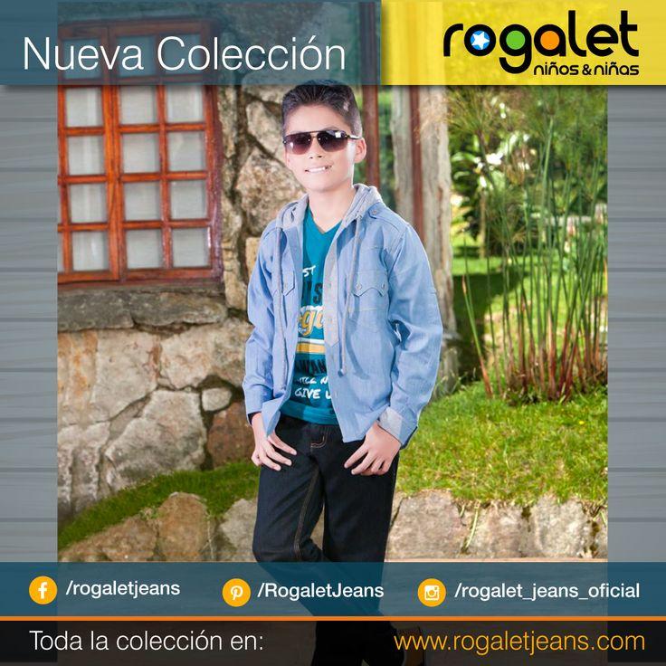 Rogalet Jeans  Camisa Jean para niño en Bogota, Camiseta azul turqueza estampada para niño, pantalon jean oscuro  www.rogaletjeans.com