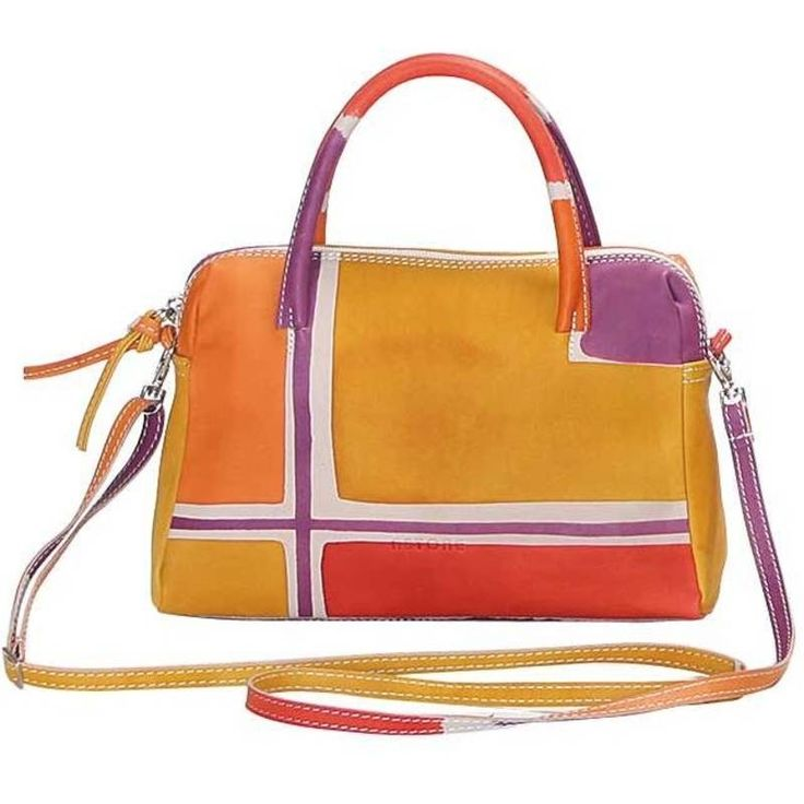 Natural leather handbag, handpainted, with inside pocket and lining inside. Small and comfortable, it can be worn also with the adjustable shoulder strap. Colored and lively, it fits at any age. All Acquerello handbags can be purchased with matching shoes, wallet, belt and other accessories. Colors grey violet ocra and green and geometrical pattern. Colors red yellow violet and orange and pattern geometrical. By Astore Venezia