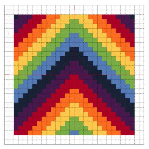 Cross Stitch Rainbow Block 5 - The Crafty Mummy