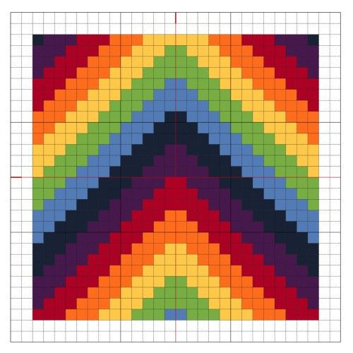 Cross Stitch Rainbow Block 5 - The Crafty Mummy