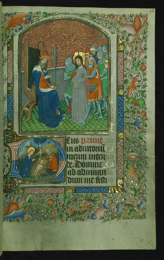 Book of Hours Above: Christ before Pilate; below: Nativity and Adoration of Christ Walters Manuscript W.173 fol. 43r by Walters Art Museum Illuminated Manuscripts
